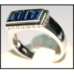 Gorgeous Diamond Gemstone 18K White Gold Blue Sapphire Ring [RQ0007]