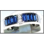 Estate Gemstone Diamond Blue Sapphire 18K White Gold Ring [RQ0013]