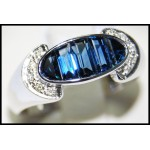 18K White Gold Gemstone Estate Diamond Blue Sapphire Ring [RQ0018]
