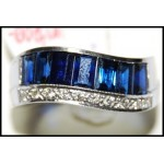 Natural Blue Sapphire Gemstone 18K White Gold Diamond Ring [RQ0019]