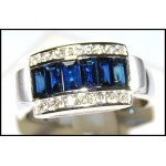 Diamond Estate 18K White Gold Gemstone Blue Sapphire Ring [RQ0020]