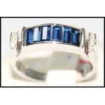 Exclusive Diamond Blue Sapphire Gemstone 18K White Gold Ring [RQ0036]
