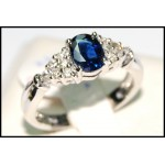 Blue Sapphire Natural Diamond Solitaire 18K White Gold Ring [RS0011]