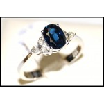 Estate 18K White Gold Solitaire Diamond Blue Sapphire Ring [RS0012]