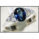 Diamond Stunning Solitaire 18K White Gold Blue Sapphire Ring [RS0012B]
