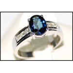 Stunning Diamond Solitaire 18K White Gold Blue Sapphire Ring [RS0015]
