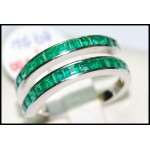 Genuine Baguette Emerald 18K White Gold Gemstone Ring [R0020]