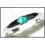 Exclusive 18K White Gold Gemstone Oval Cut Emerald Ring [RS0014]