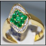 Diamond Gorgeous Gemstone 18K Yellow Gold Emerald Ring [R0005]