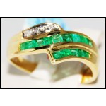 18K Yellow Gold Estate Gemstone Diamond Emerald Ring [R0009]