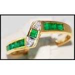 Gemstone Gorgeous Diamond 18K Yellow Gold Emerald Ring [R0023]
