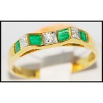 Gemstone Diamond Stunning Emerald Ring 18K Yellow Gold [R0045]