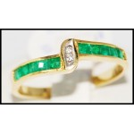 18K Yellow Gold Exclusive Gemstone Emerald Diamond Ring [R0049]