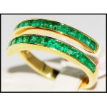 Emerald Stunning Gemstone 18K Yellow Gold Band Ring R0020]