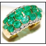 Estate 18K Yellow Gold Cocktail Diamond Emerald Ring [R0015]