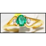 Solitaire Emerald Stunning Diamond 18K Yellow Gold Ring [R0093]