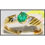 Diamond Genuine 18K Yellow Gold Emerald Solitaire Ring [R0102]