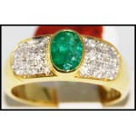Stunning 18K Yellow Gold Diamond Emerald Solitaire Ring [R0109]