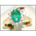 Exclusive Diamond 18K Yellow Gold Solitaire Emerald Ring [RS0007]