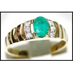 18K Yellow Gold Exclusive Diamond Solitaire Emerald Ring [RS0021]