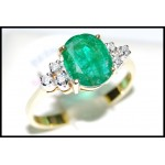 18K Yellow Gold Solitaire Diamond Gorgeous Emerald Ring [RS0035]