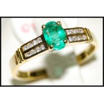Emerald Natural Diamond 18K Yellow Gold Solitaire Ring [RS0039]