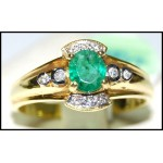 Natural Solitaire Diamond 18K Yellow Gold Emerald Ring [RS0104]