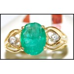 18K Yellow Gold Emerald Genuine Solitaire Diamond Ring [RS0152]