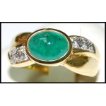 Emerald Solitaire Exclusive 18K Yellow Gold Diamond Ring [RS0161]