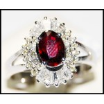 18K White Gold Ruby and Diamond Gemstone Ring [R137]