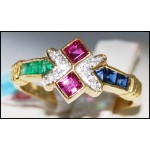 Jewelry Diamond 18K Yellow Gold Natural Multi Gemstone Ring [R0007]