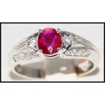 18K White Gold Ruby Gemstone and Diamond Ring [R0012]