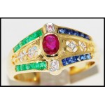Estate Diamond Jewelry 18K Yellow Gold Multi Gemstone Ring [R0038]