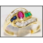 Jewelry Gorgeous 18K Yellow Gold Diamond Multi Gemstone Ring [R0041]