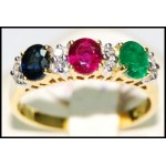 Diamond Multi Gemstone 18K Yellow Gold Three Stone Ring [RF0002]