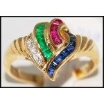 Estate Diamond 18K Yellow Gold Jewelry Multi Gemstone Ring [R0082]