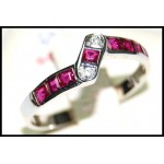 18K White Gold Square Ruby Gemstones Ring [RW0023]