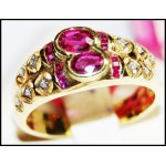 Estate 14K Yellow Gold Diamond Gemstone Ruby Ring [RR006]