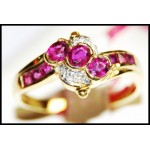 14K Yellow Gold Gemstone Genuine Ruby Diamond Ring [RR007]
