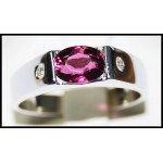 Oval Ruby Gemstones Ring Solid 18K White Gold [R0125]