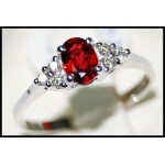 Diamond Gemstone 18K White Gold Ruby Solitaire Ring [RS0012]