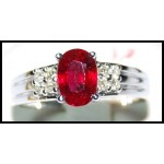 Diamond Gemstone 18K White Gold Solitaire Ruby Ring [RS0030]