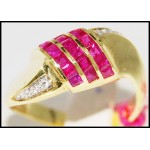 14K Yellow Gold Genuine Gemstone Diamond Ruby Ring [RR016]