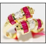 14K Yellow Gold Gemstone Estate Diamond Ruby Ring [RR028]