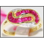 14K Yellow Gold Genuine Gemstone Diamond Ruby Ring [RR029]