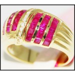 14K Yellow Gold Estate Diamond Gemstone Ruby Ring [RR031]