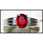 Ruby and Diamond Ring Solid 18K White Gold [R0126]