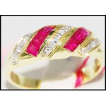 14K Yellow Gold Diamond Gemstone Exclusive Ruby Ring [RR039]
