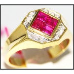 Gorgeous Gemstone Diamond 14K Yellow Gold Ruby Ring [RR044]