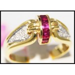 14K Yellow Gold Gorgeous Diamond Gemstone Ruby Ring [RR065]